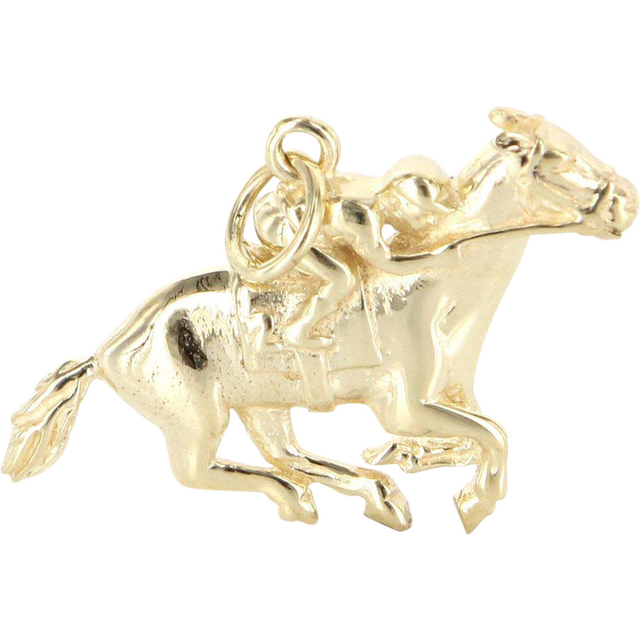 Vintage 14 Karat Yellow Gold Racehorse Jockey Animal Pendant Estate Jewelry