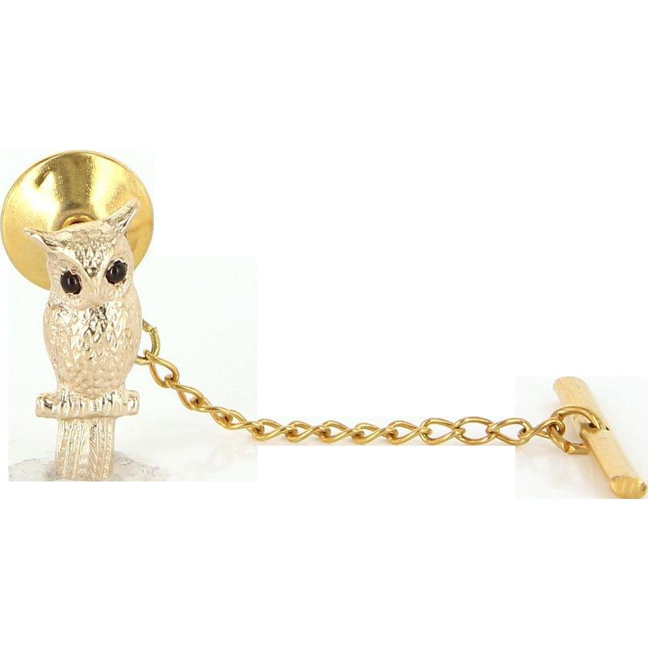 Vintage 14 Karat Yellow Gold Garnet Mens Owl Animal Bird Tie Tac Pin Estate Jewelry