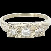 Vintage 14 Karat White Gold Diamond Three Stone Trilogy Cocktail Ring Estate Jewelry