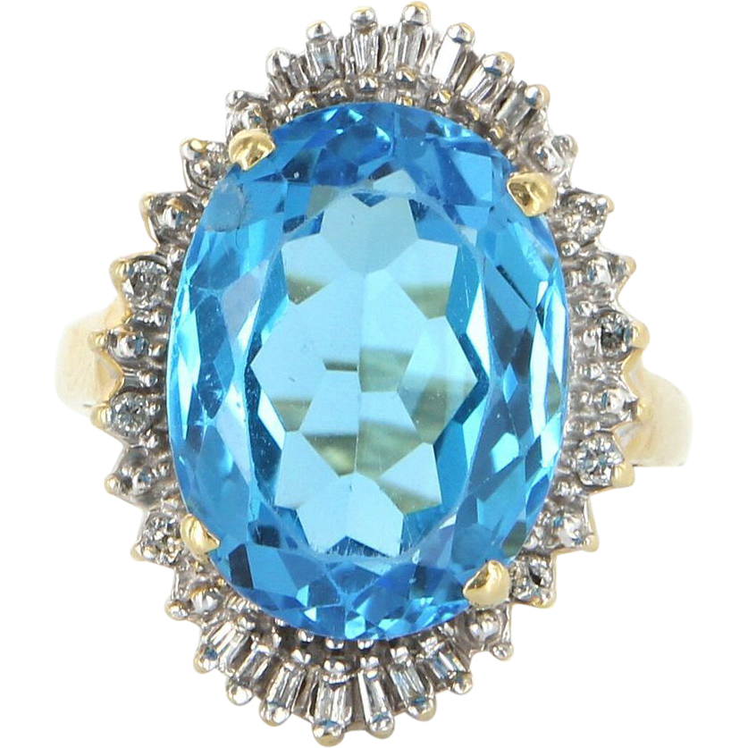 Vintage 14 Karat Yellow Gold Blue Topaz Diamond Large Princess Ballerina Cocktail Ring Estate Jewelry