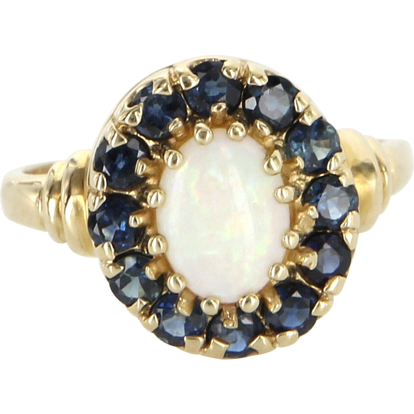 Vintage 10 Karat Yellow Gold Opal Sapphire Princess Cocktail Ring Estate Jewelry
