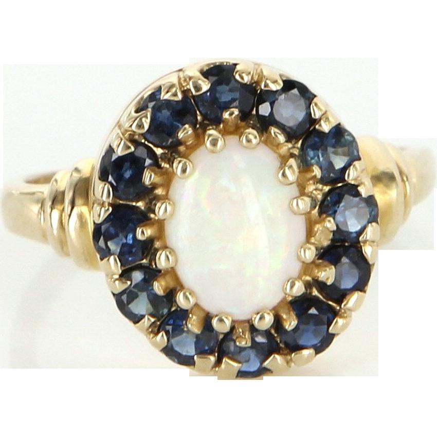 Vintage 10 Karat Yellow Gold Opal Sapphire Princess Cocktail Ring Estate Jewelry