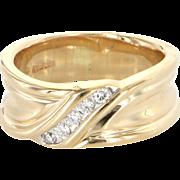 Vintage 14 Karat Yellow Gold Diamond Mens Dress Right Hand Ring Sz 8 Estate Jewelry