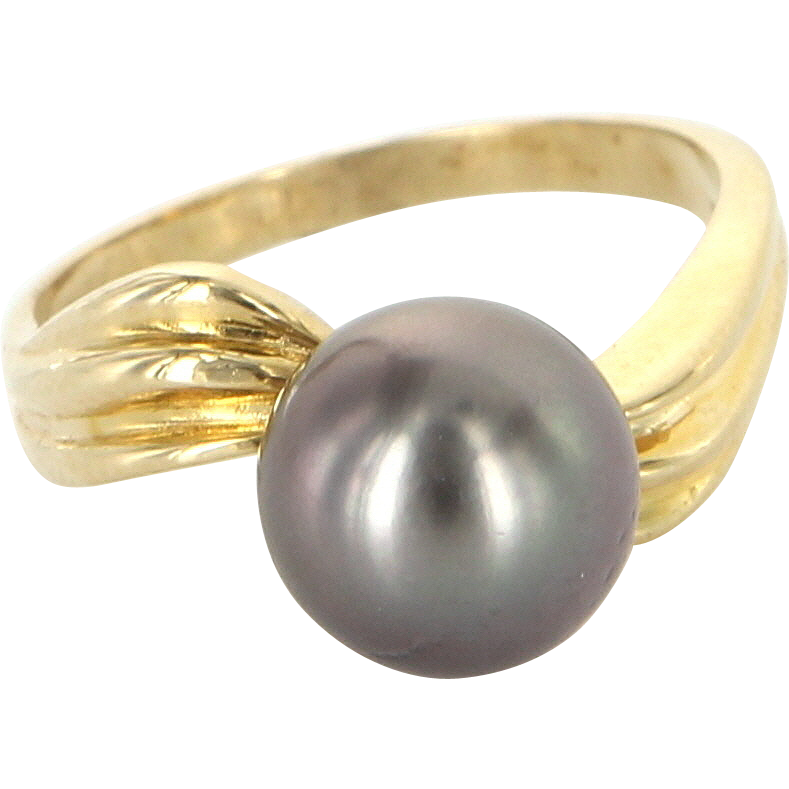 Vintage 14 Karat Yellow Gold Cultured Black Tahitian Pearl Solitaire Ring Estate Jewelry