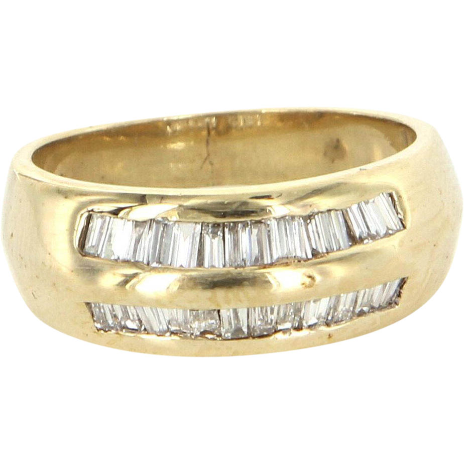 Vintage 14 Karat Yellow Gold Half Baguette Diamond Stack Band Ring Estate Jewelry
