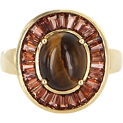 Vintage 14 Karat Yellow Gold Tigers Eye Garnet Oval Cocktail Ring Estate Jewelry