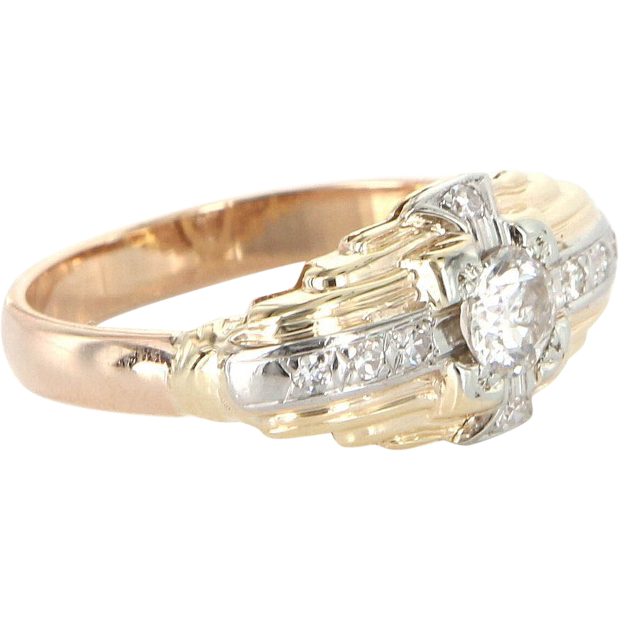 Art Deco 14 Karat Yellow White Two-Tone Gold Diamond Engagement Right Hand Ring Vintage Estate Jewelry