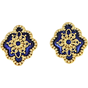 Vintage 14 Karat Yellow Gold Blue Enamel Large Cocktail Earrings Estate Jewelry