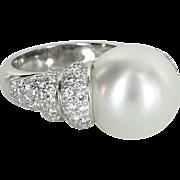 Large 13.5mm Cultured Tahitian South Sea Pearl Diamond Ring Vintage 18 Karat Gold