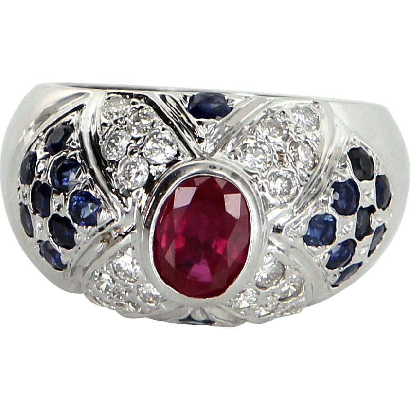 Ruby Sapphire Diamond Dome Ring Vintage 14k White Gold Estate Fine Jewelry