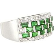 Vintage 14 Karat White Gold Diamond Tsavorite Garnet Band Right Hand Cocktail Ring Estate Jewelry