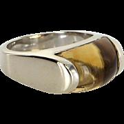 Bulgari Tronchetto Citrine Ring Estate 18 Karat White Gold Fine Designer Jewelry 6.25