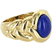 Van Cleef & Arpels Lapis Lazuli Ring Vintage 18 Karat Gold Fine Designer Jewelry