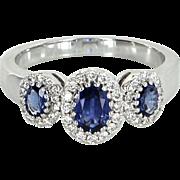Gregg Ruth 3 Stone Sapphire Diamond Ring Estate 18 Karat White Gold Designer Jewelry