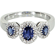 Gregg Ruth 3 Stone Sapphire Diamond Ring Estate 18 Karat White Gold Designer Jewelry