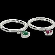 2 Ring Charm Set Vintage Ruby Emerald 14 Karat White Gold Estate Fine Jewelry 5.75