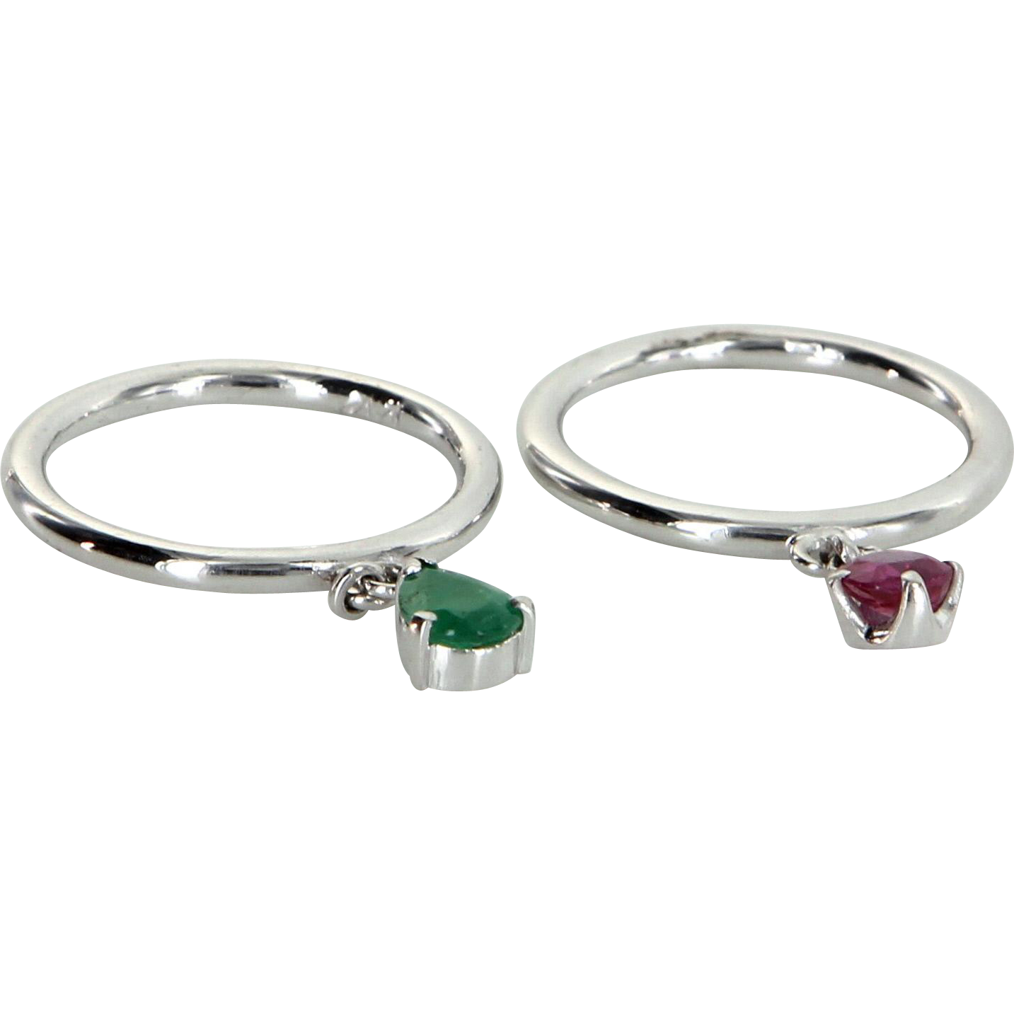 2 Ring Charm Set Vintage Ruby Emerald 14 Karat White Gold Estate Fine Jewelry 5.75