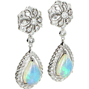 Opal Diamond Drop Earrings Vintage 18 Karat White Gold Estate Fine Jewelry Pre Owned