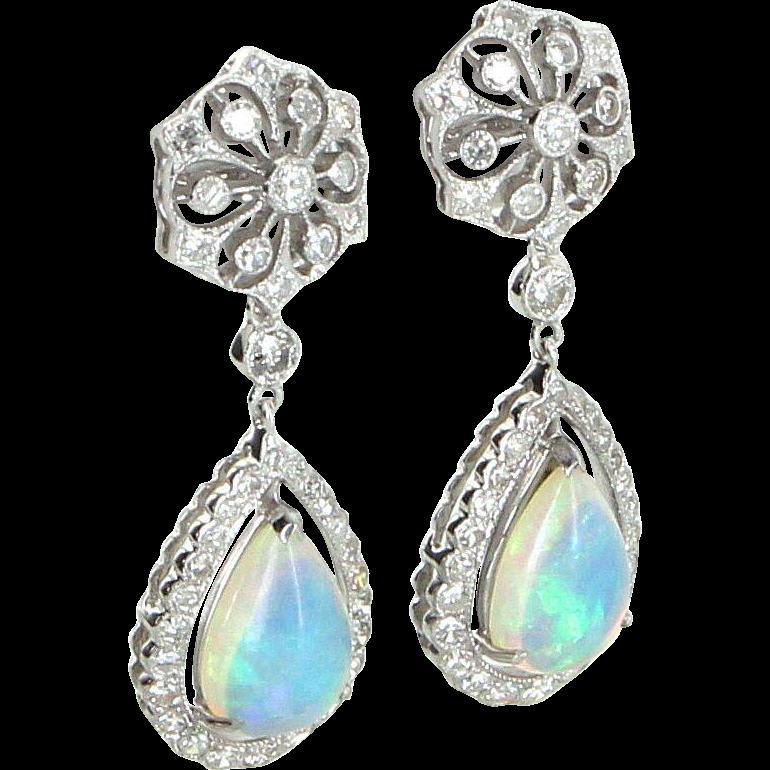 Opal Diamond Drop Earrings Vintage 18 Karat White Gold Estate Fine Jewelry Pre Owned