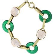 Art Deco 14 Karat Yellow Gold Chrysoprase Light Amethyst Round Link Bracelet Vintage Estate Jewelry