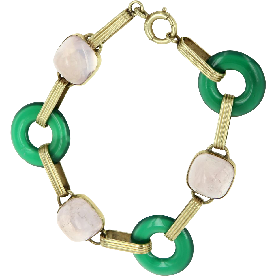 Art Deco 14 Karat Yellow Gold Chrysoprase Light Amethyst Round Link Bracelet Vintage Estate Jewelry