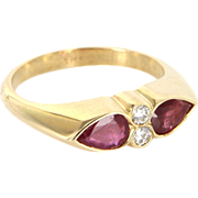 Vintage 18 Karat Yellow Gold Natural Ruby Diamond Stack Anniversary Ring Estate Jewelry