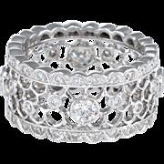 1.27ct Diamond Eternity Ring Sz 6.25 Estate 18 Karat White Gold Fine Pre Owned