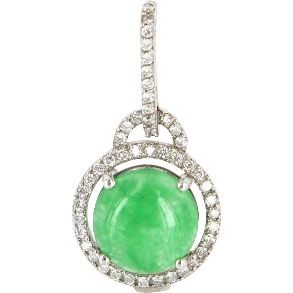 Vintage 14 karat white gold jade diamond drop halo pendant for 14 karats fine jewelry