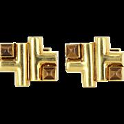 Aldo Cipullo Cartier Cufflinks 18 Karat Gold Tigers Eye Designer Signed Men's Jewelry