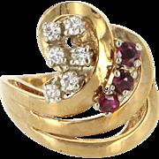 Vintage 14 Karat Yellow Gold Diamond Ruby Spray Cocktail Ring Fine Estate Jewelry