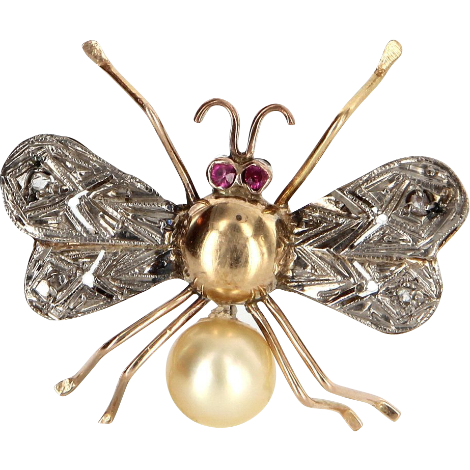 Vintage 14 Karat Yellow White Gold Ruby Diamond South Sea Cultured Pearl Insect Bee Bug Brooch Estate Jewelry