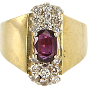 Vintage 14 Karat Yellow Gold Diamond Ruby Cocktail Ring Fine Estate Jewelry