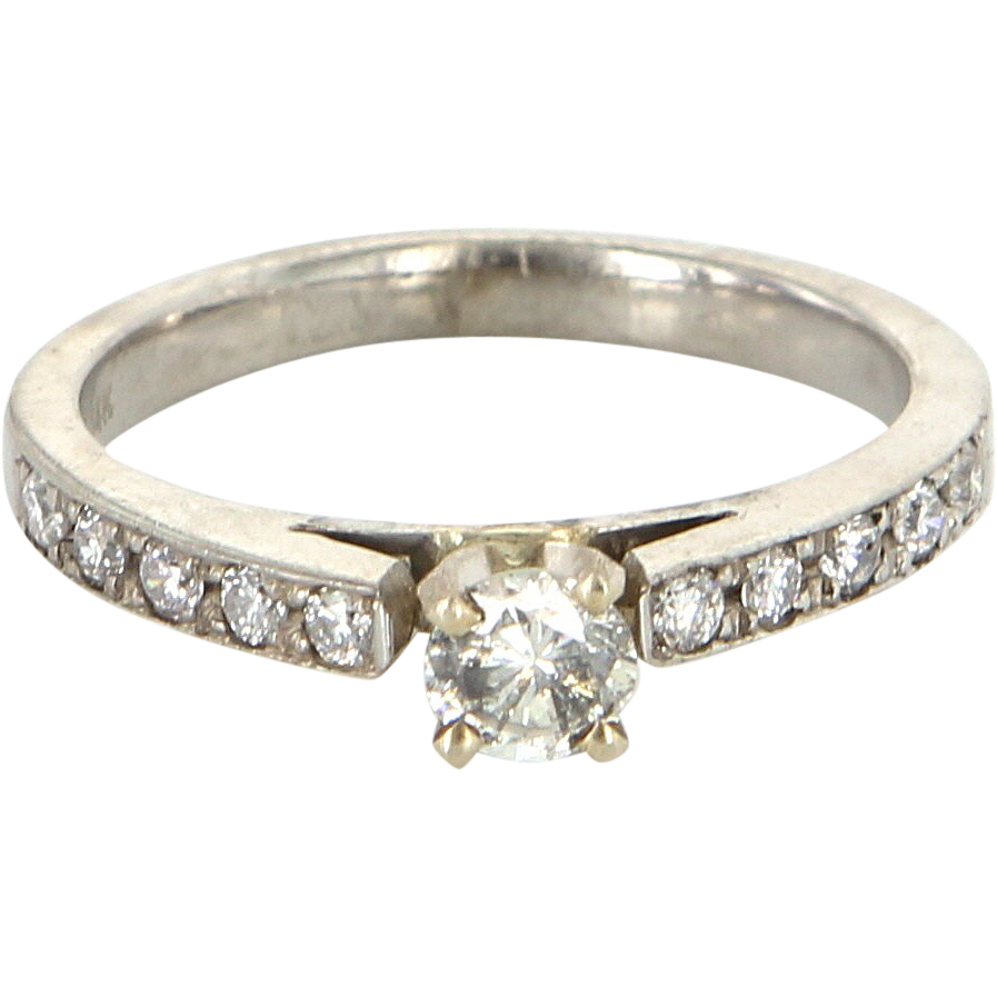Vintage 14 Karat White Gold Diamond Engagement Right Hand Ring Fine Estate Bridal Jewelry