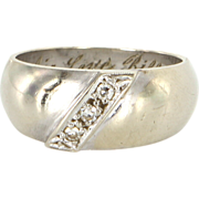 Vintage 14 Karat White Gold Diamond Mens Stack Band Ring Estate Jewelry Unisex