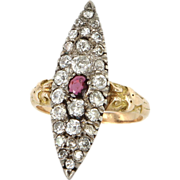 Antique Victorian 14 Karat Yellow Gold Ruby Diamond Navette Cocktail Ring Fine Estate Vintage Jewelry