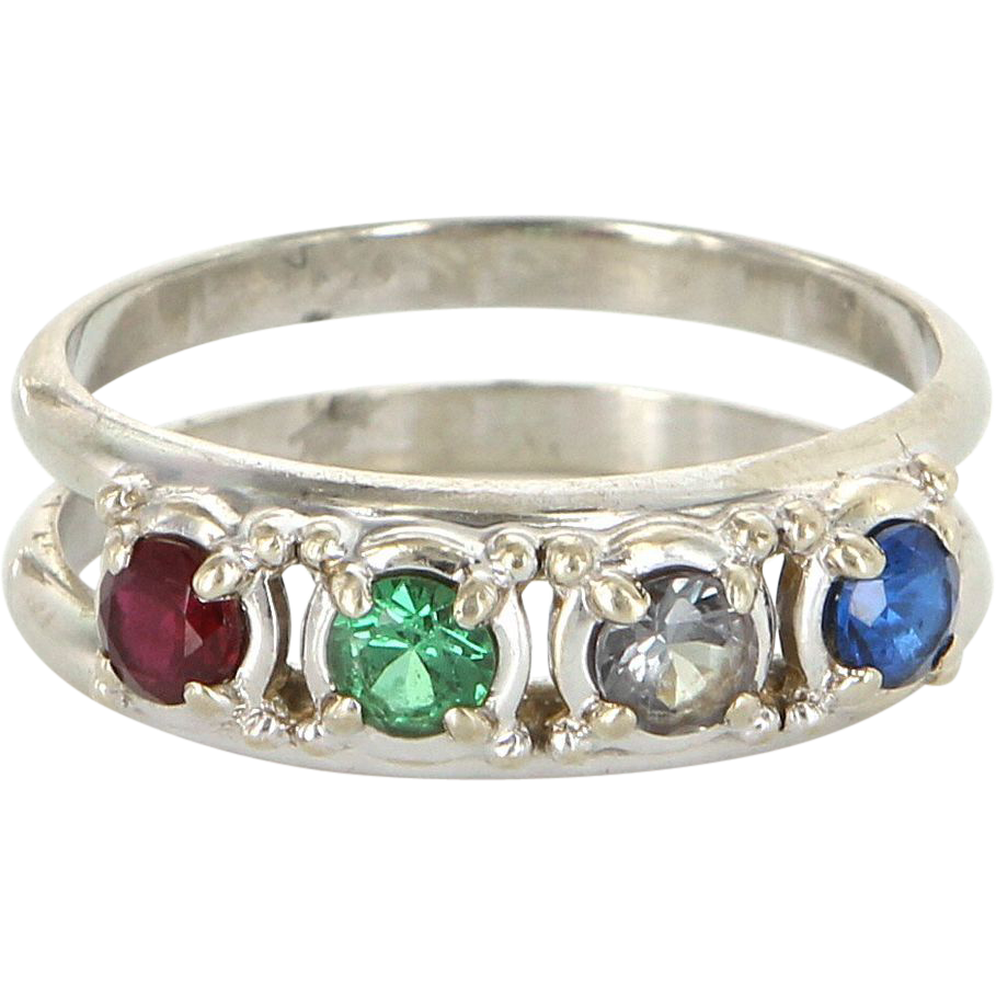 Vintage 14 Karat White Gold Emerald Ruby Sapphire Acrostic Stack Band Ring Estate Jewelry