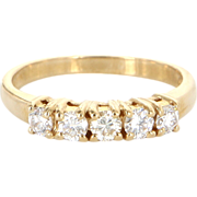 Vintage 14 Karat Yellow Gold Diamond 5 Stone Anniversary Stack Band Ring Estate Jewelry