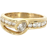 Vintage 14 Karat Yellow Gold Diamond Wedding Stack Band Ring Sz 8.5 Estate Jewelry