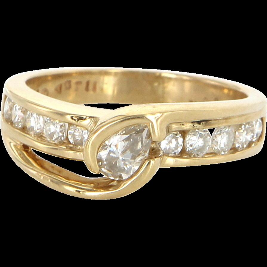 Vintage 14 Karat Yellow Gold Diamond Wedding Stack Band Ring Sz 8.5 Estate Jewelry