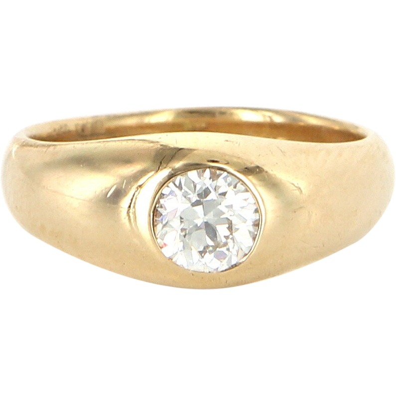 Art Deco 14 Karat Yellow Gold Diamond Pinky Stack Ring Band Vintage Estate Jewelry
