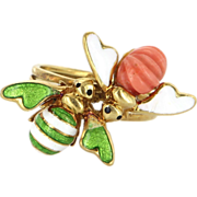 Vintage 18 Karat Yellow Gold Coral Enamel Double Bumble Bee Insect Cocktail Ring Estate Jewelry