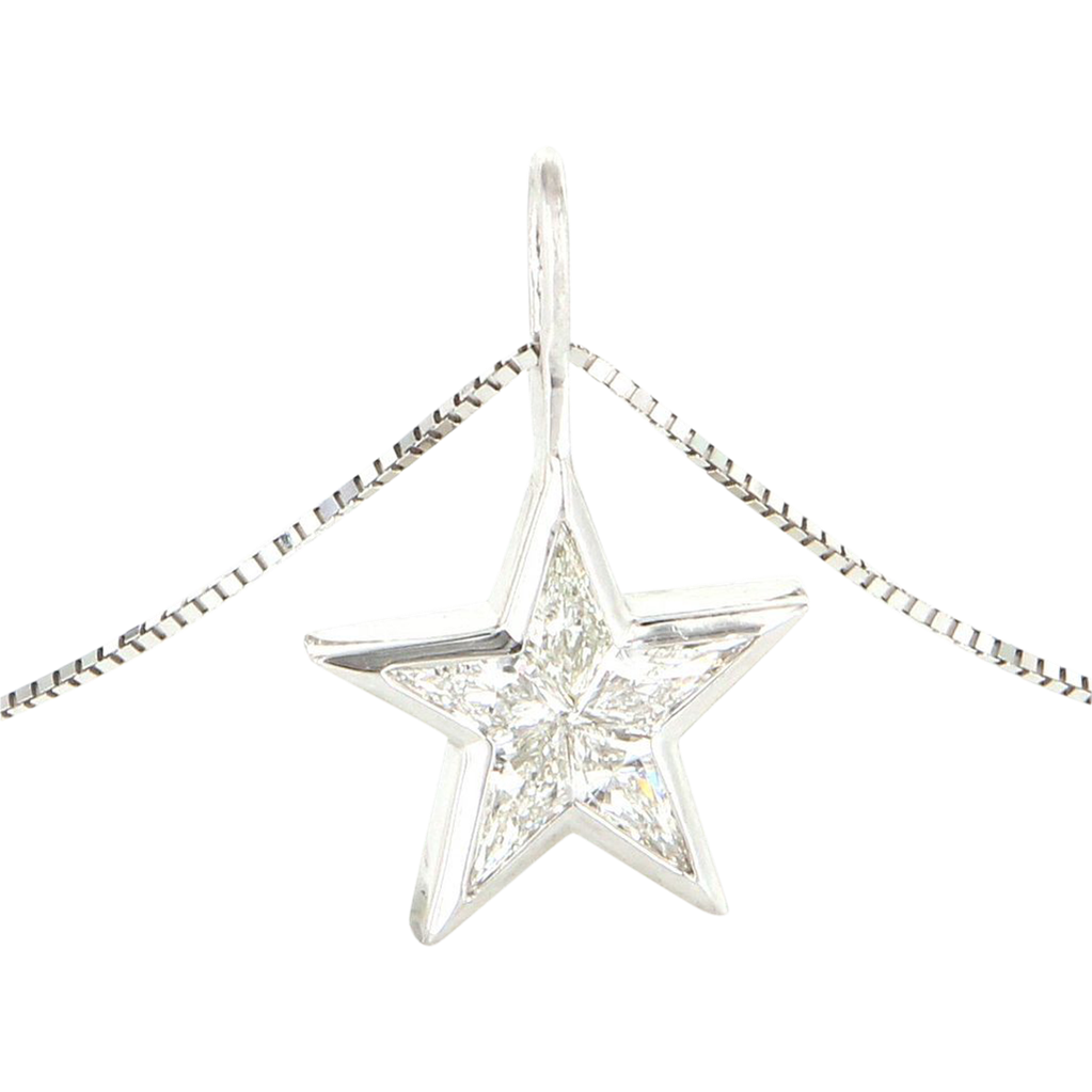 Vintage 14 karat white gold shield cut diamond star pendant vintage 14 karat white gold shield cut diamond star pendant necklace estate jewelry mozeypictures Image collections