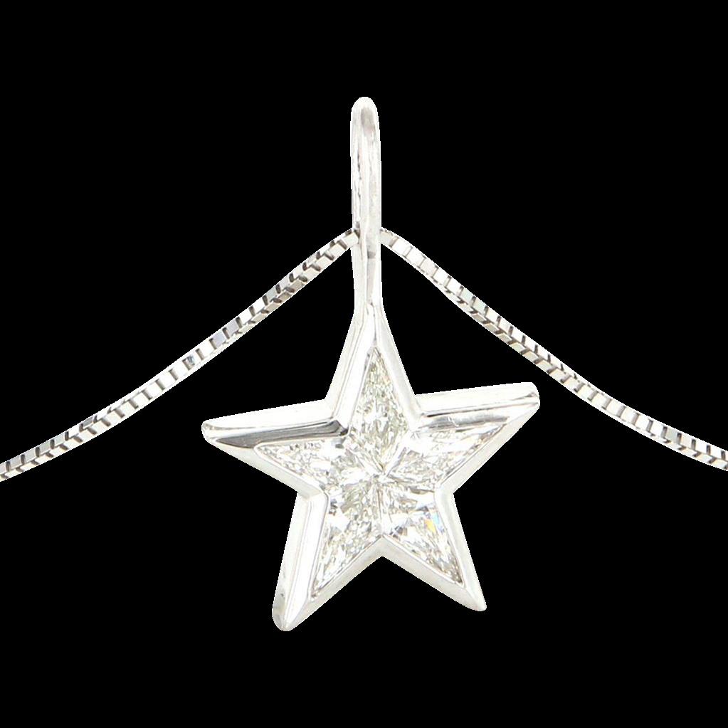 Vintage 14 karat white gold shield cut diamond star pendant necklace vintage 14 karat white gold shield cut diamond star pendant necklace sold ruby lane aloadofball Gallery