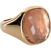 Pomellato Cipria Rose Quartz Cocktail Ring Estate 18 Karat Yellow Gold Designer 6.5