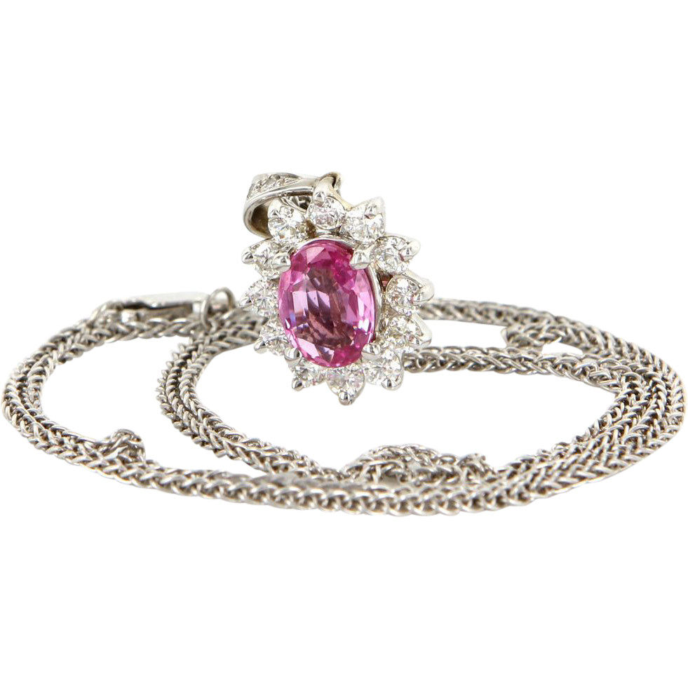 Vintage 18 Karat White Gold Diamond Natural Pink Sapphire Pendant Necklace Estate Jewelry