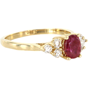 Vintage 14 Karat Yellow Gold Diamond Natural Ruby Small Cocktail Right Hand Ring Estate Jewelry