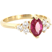 Vintage 14 Karat Yellow Gold Natural Ruby Diamond Cocktail Right Hand Ring Estate Jewelry