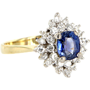 Vintage 14 Karat Yellow White Gold Diamond Natural Sapphire Princess Cocktail Ring Estate Jewelry