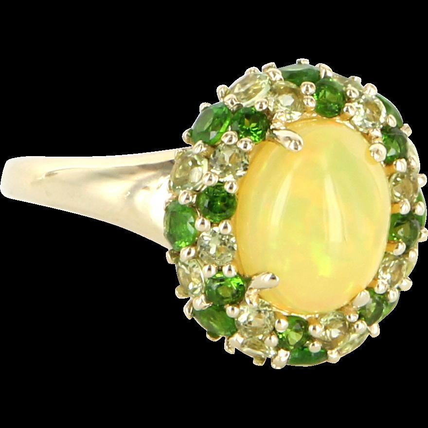 Vintage 10 Karat Yellow Gold Opal Peridot Yellow Topaz ...