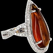 Amber Diamond Cocktail Ring Vintage 18 Karat White Gold Estate Fine Jewelry Heirloom